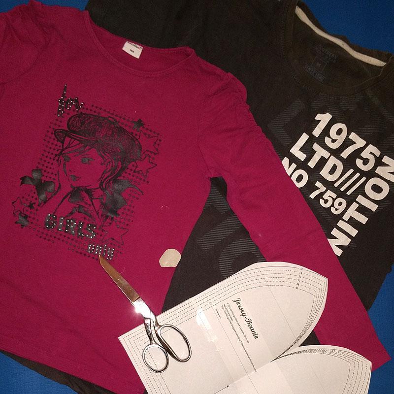 T-Shirt Recycling: Beanie Mütze nähen aus T-Shirts