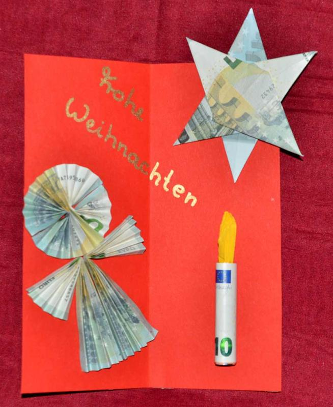Geldgeschenke Basteln Fur Weihnachten Engel Stern Und Kerze Aus
