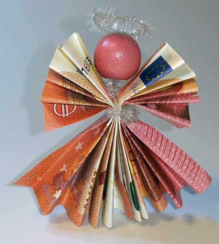 Geldgeschenke basteln engel aus geldscheinen selber basteln - Bilder mit zeitungspapier ...