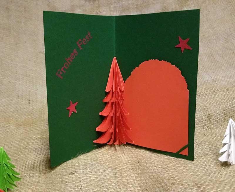 3d Pop Up Karte Mit Tannenbaum Für Weihnachten Selber Basteln