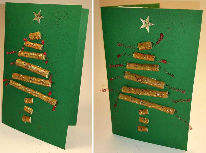 Weihnachtskarten Selber Basteln Anleitung.Weihnachtskarte Selber Machen Tannenbaum Aus Stöcken