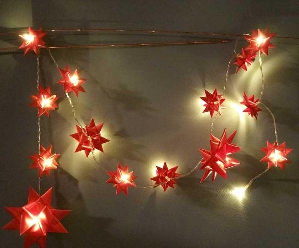 Himmelbett Lichterkette Selber Machen ~ Lichterkette für Weihnachten aus Fröbelsternen selber machen