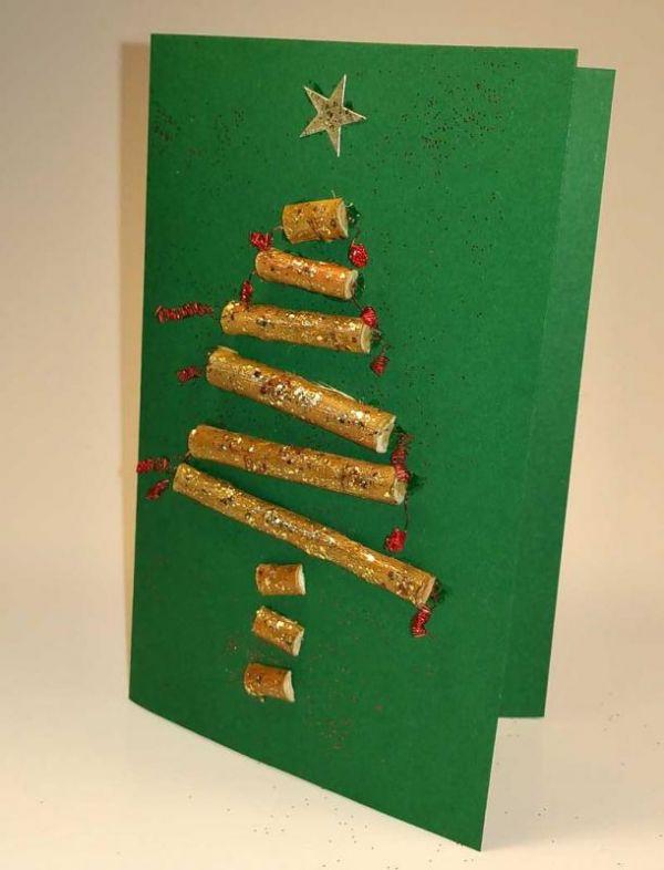 weihnachtskarte selber machen tannenbaum aus stöcken